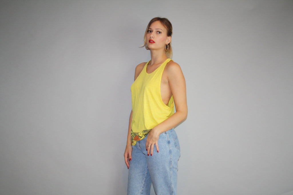 90s Nike Yellow Air Force STS Vintage Tank Top
