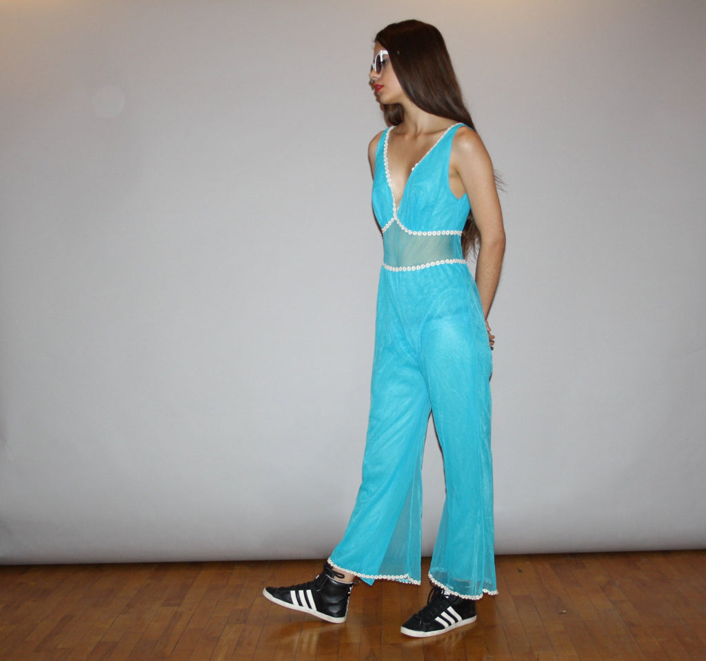 1960s Turquoise I Dream of Genie Pantsuit Jumpsuit Lingerie