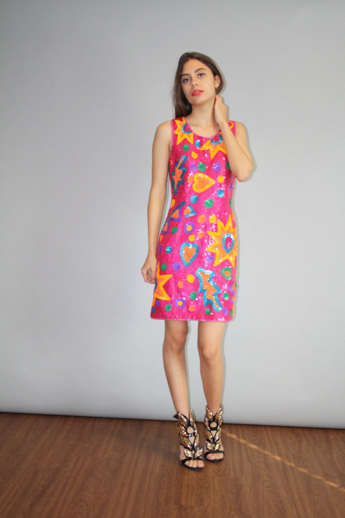 Vintage 1980s Abstract Pink Silk Sequin Body Con Cocktail Dress