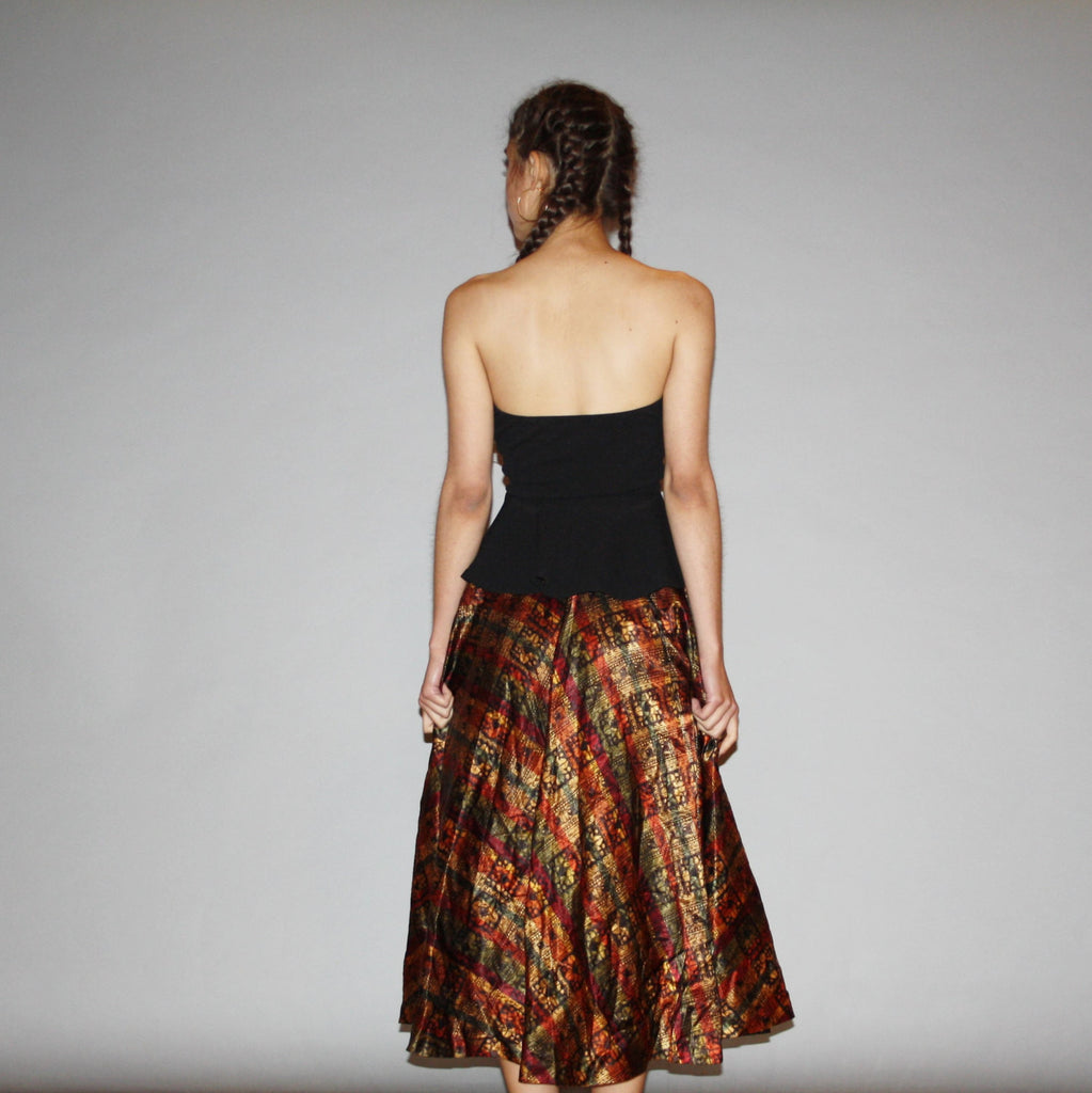 Vintage 1950s Bohemian Boho Floral Ethnic Fall Autumn Circle Skirt