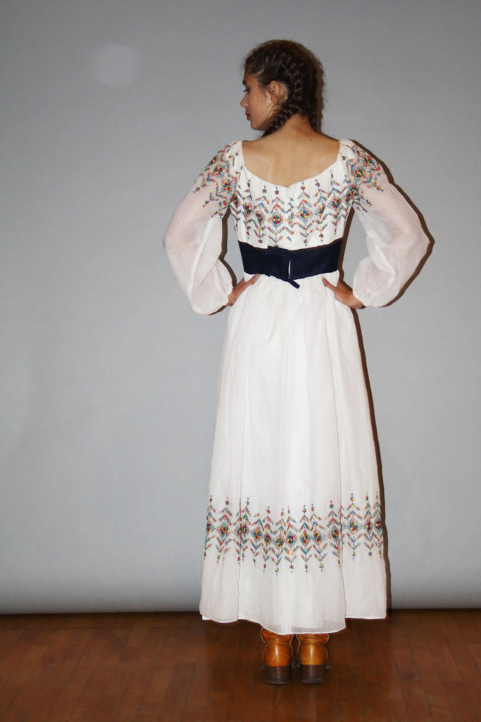 Vintage 1960s Oaxacan White Rainbow Floral Embroidered Boho Hippie Folk Mexican Ethnic Maxi Dress