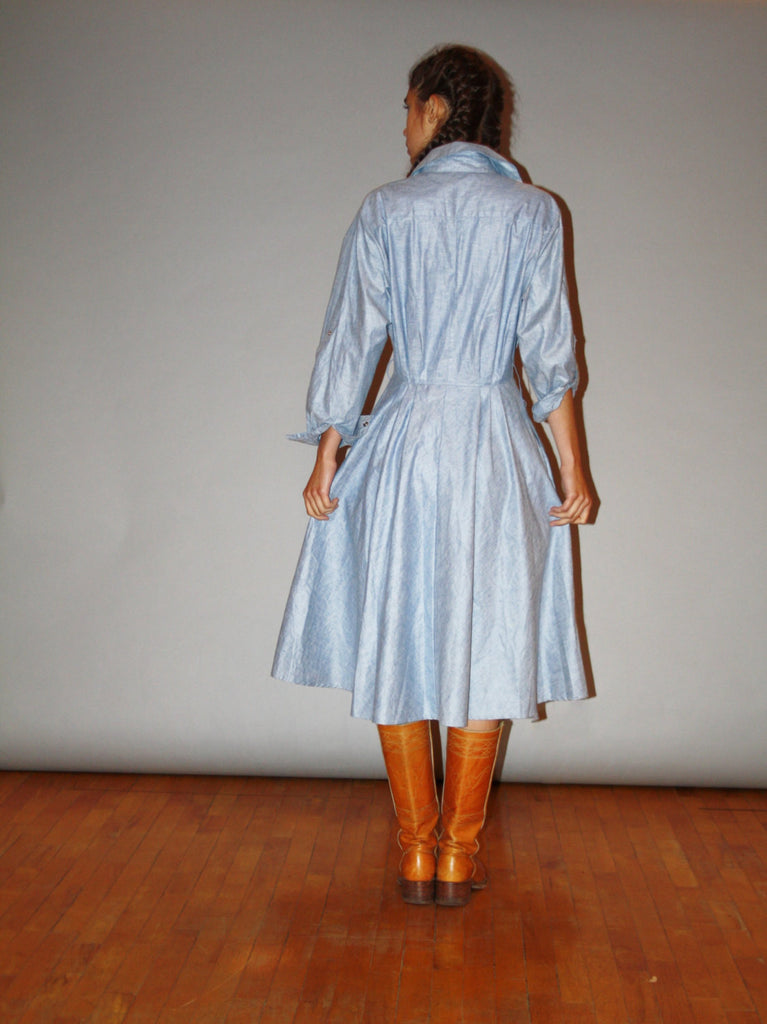 1980s Chambray Country Western Denim Minimalist Jean Dress
