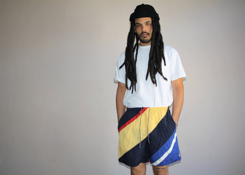 1990s Vintage Graphic Colorblock Nautica Hip Hop Rap Rapper Swim Trunks Men's Shorts