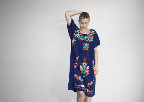 Vintage 1960s Oaxacan Blue Midi Rainbow Floral Embroidered Boho Hippie Folk Ethnic Mexican Wedding Cotton Dress