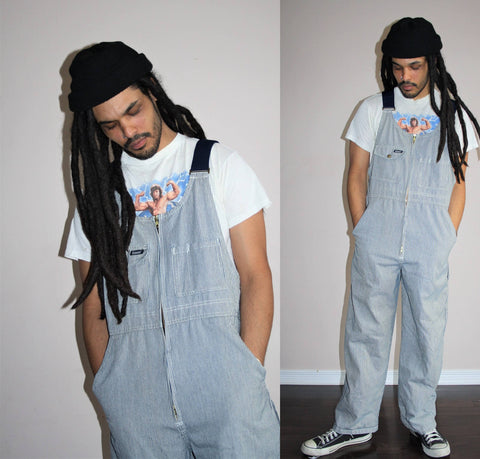 Overalls Denim Pants Dungarees Bib GRUNGE Suspender Blue Jean Pants Baggy Workwear 1990s Navy Stripe Work Wear Denim Overalls