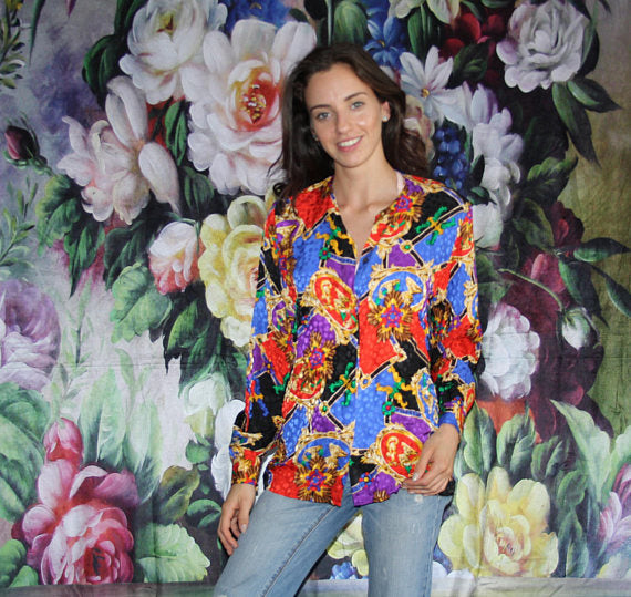Vintage 1980s Silk Scarf Print Rainbow Gold Graphic Glam Blouse