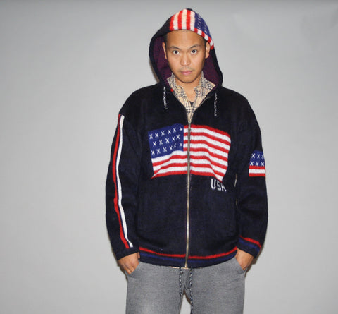 1990s Red White and Blue Stars & Stripes American Flag USA Graphic Hooded Hoodie Oversized XL Cardigan Sweater