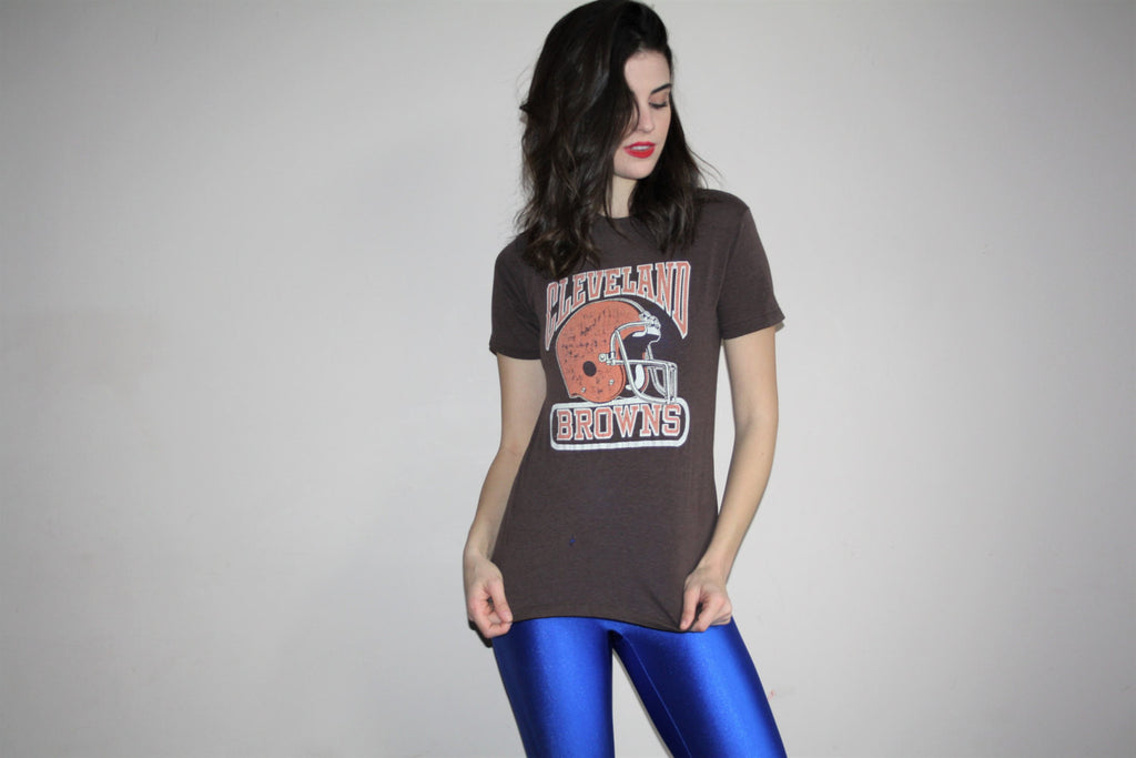 Vintage 1970s Cleveland Browns Logo 7 50 50 Cotton Poly Threadbare Paper Thin NFL Football Helmet T-Shirt Jersey