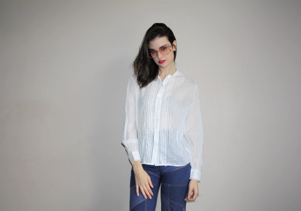 90s Vintage Ralph Lauren White Lace Blouse Top