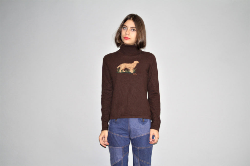 Designer Vintage 1980s Ralph Lauren Merino Angora Cashmere Wool Brown Turtle Neck Sweater with novelty Hunting Dog Graphic