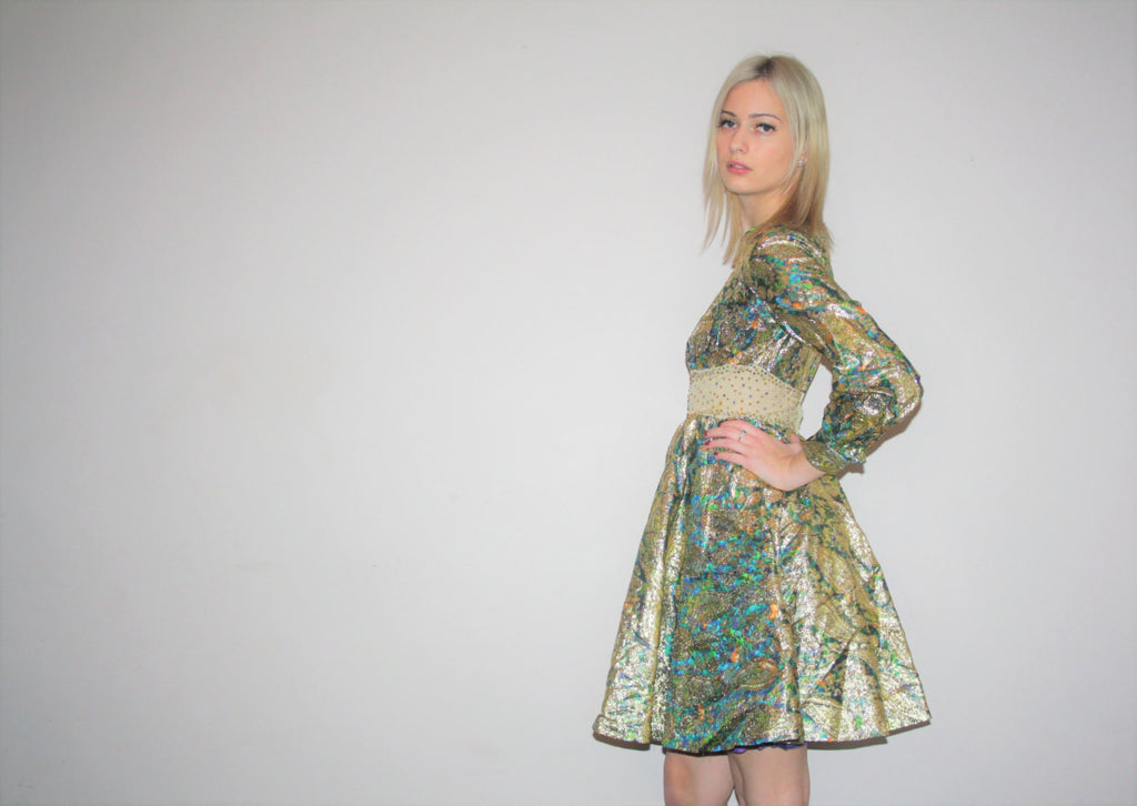 Vintage 1960s Short Gold Metallic Brocade Baby Doll Sheer Studded Rhinestone Beaded Cocktail Dress