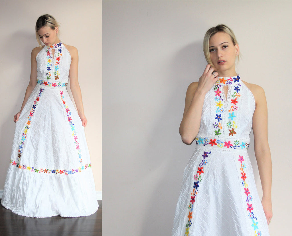 Vintage 1960s White Rainbow Floral Emrboidered Lace Oaxacan Ethnic Hippie Mexican Festival Halter Backless Maxi Dress