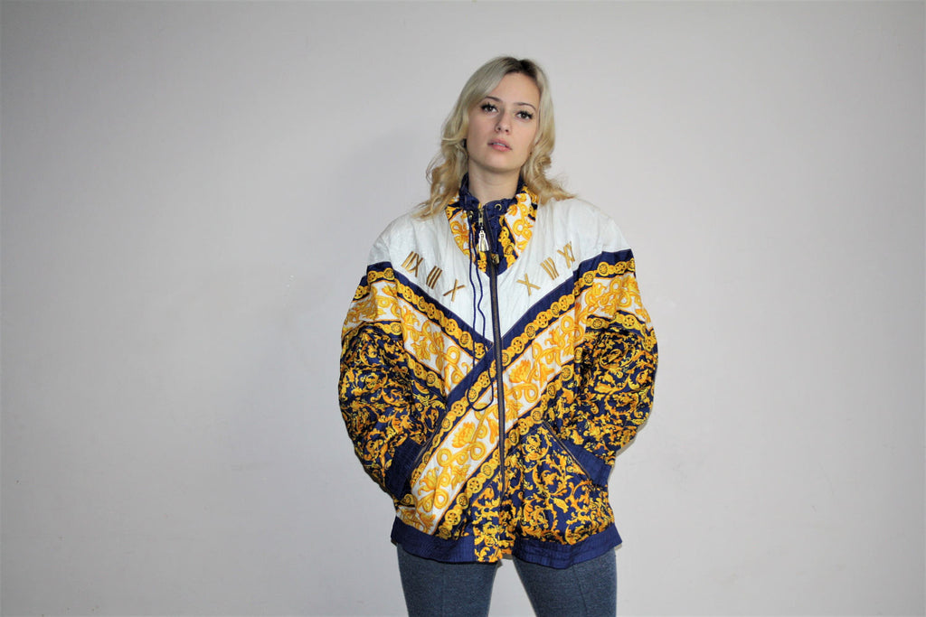 1980s Vintage Novelty Royalty Scarf Print Glam Windbreaker Jacket