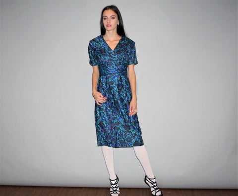 1950s Vintage Designer Jonathan Logan Blue Floral Graphic Wiggle Dress
