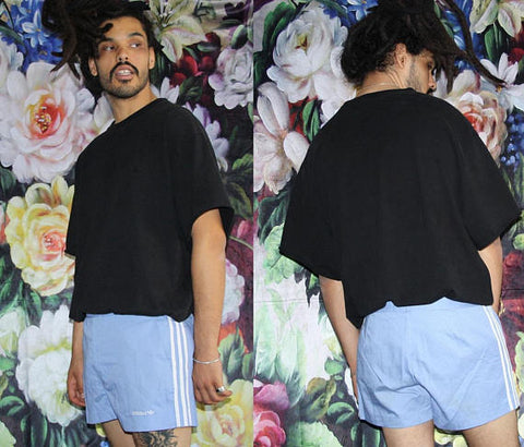 Pastel Blue Vintage Rare 60s Adidas Trefoil Mod Minimalist Running Gym Athletic Trouser Shorts