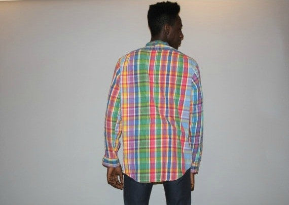 Vintage 1990s Polo by Ralph Lauren Plaid Rainbow Shirt