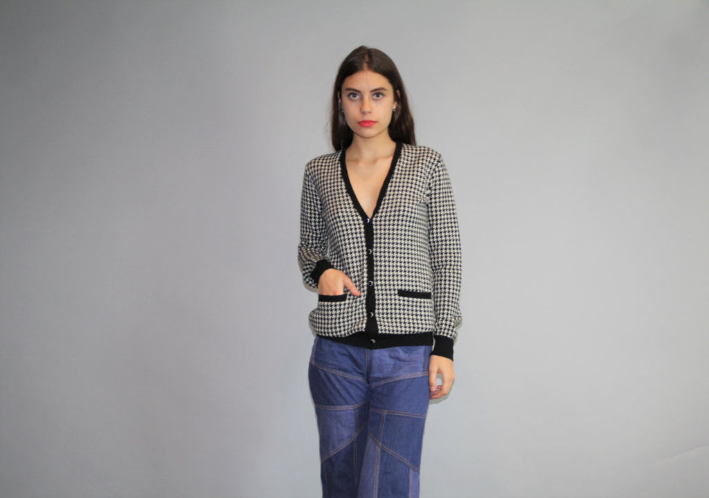 Vintage 90s Preppy Ralph Lauren Polo Black and White Houndstooth Cardigan Sweater.