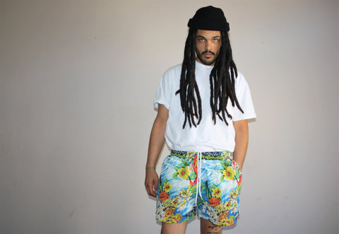 1990s Vintage Graphic Hawaiian Polo Sport Swim Trunks Men's Shorts
