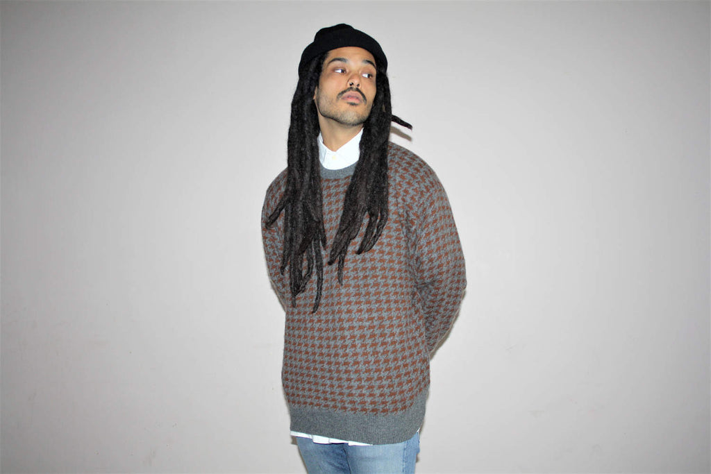1990s Vintage Neiman Marcus Cashmere Houndstooth Hip Hop Cosby Rap Sweater