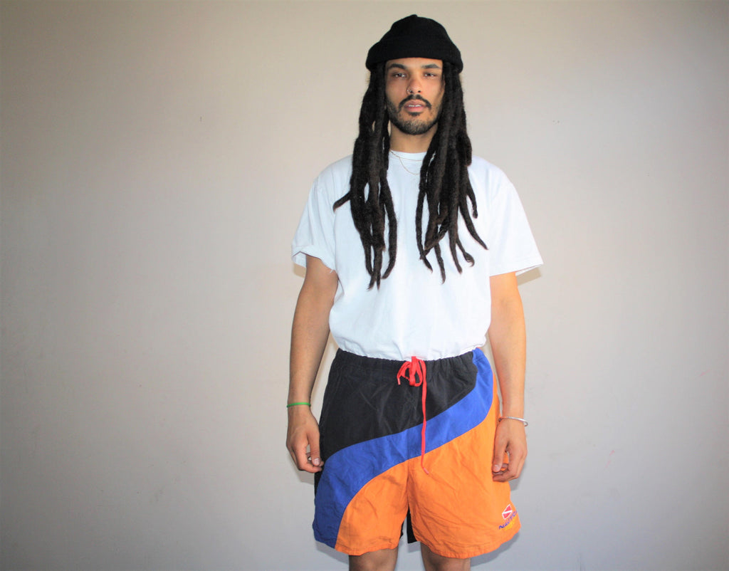 1990s Vintage Graphic Colorblock Nautica Hip Hop Rap Rapper Swim Trunks Men