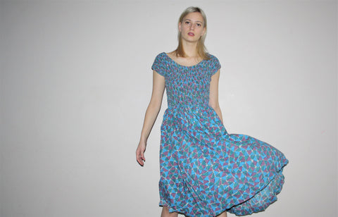 Vintage 1950s Graphic Novelty Atomic Blue Pinup Bombshell Cotton Dress
