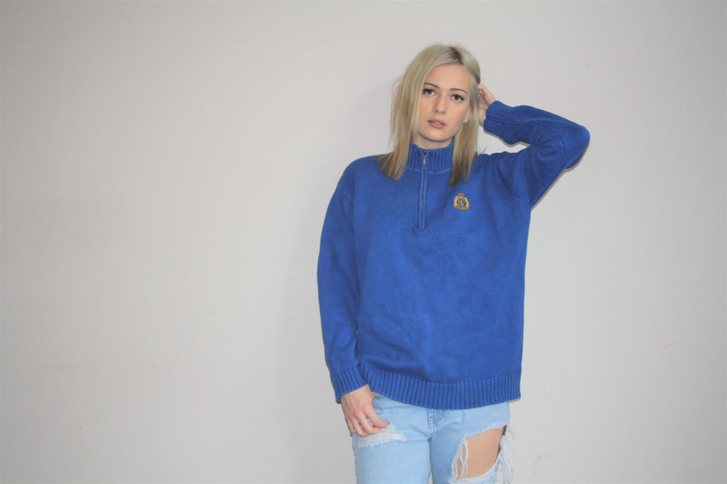 Vintage 90s Preppy Ralph Lauren Polo Royal Blue Pullover Knit Sweater