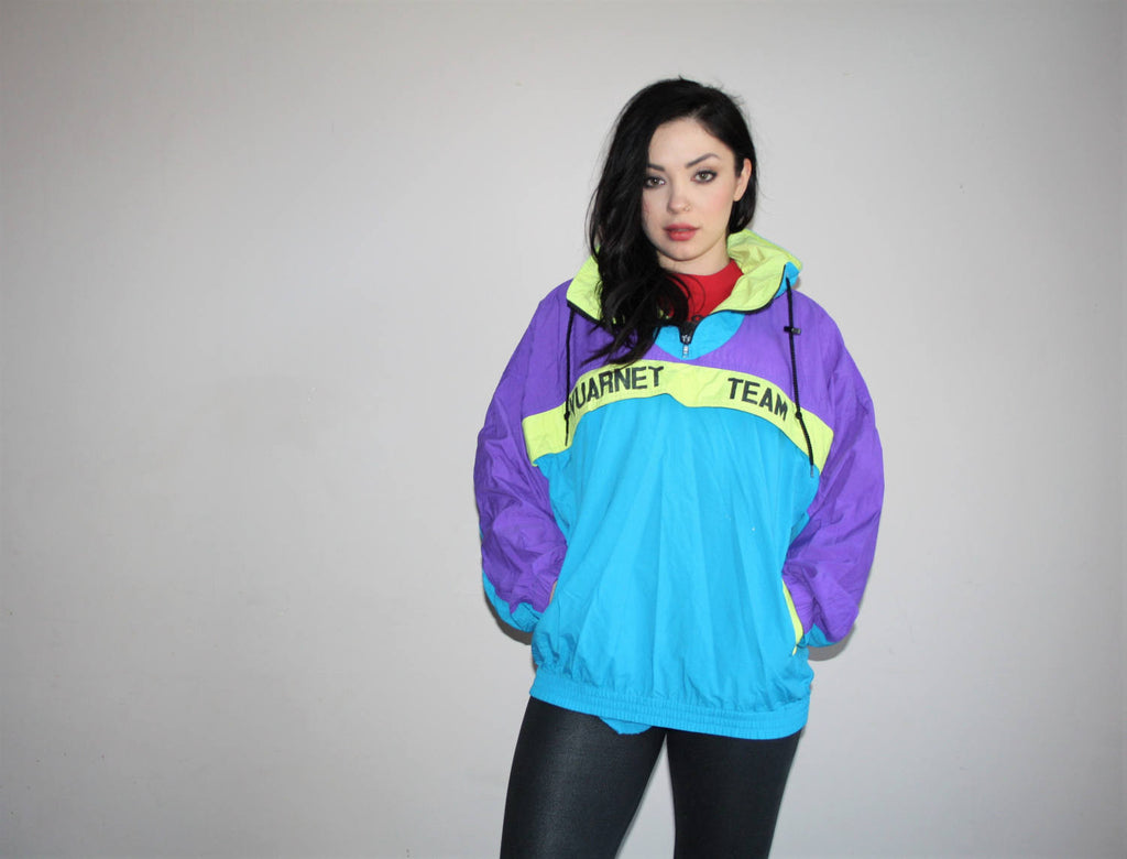 1980s Vintage Vuarnet Neon Sprotswear Colorblock Windbreaker Jacket
