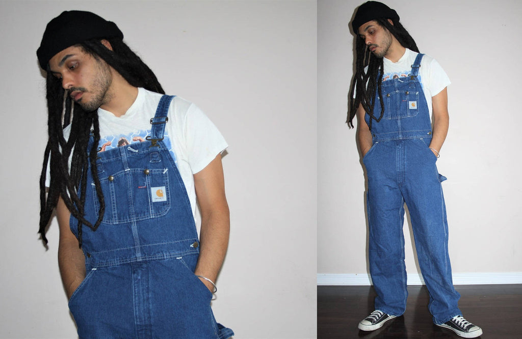 Carhartt Workwear Work Wear Grunge Bib 1990s Vintage Blue Jean Hip Hop Rap Denim Overalls