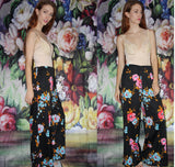 1960s Vintage Psychedelic Palazzo Art Deco Mod Asian Graphic Floral Wide Leg Pants