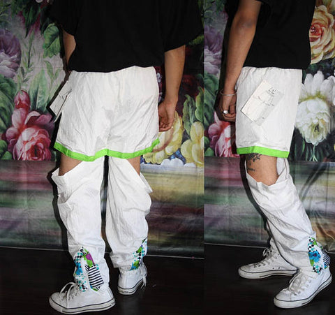 Vintage 90s Izzi Deadstock 2 in 1 Pants Tearawyas to Shorts Athletic Splash Jog Pants