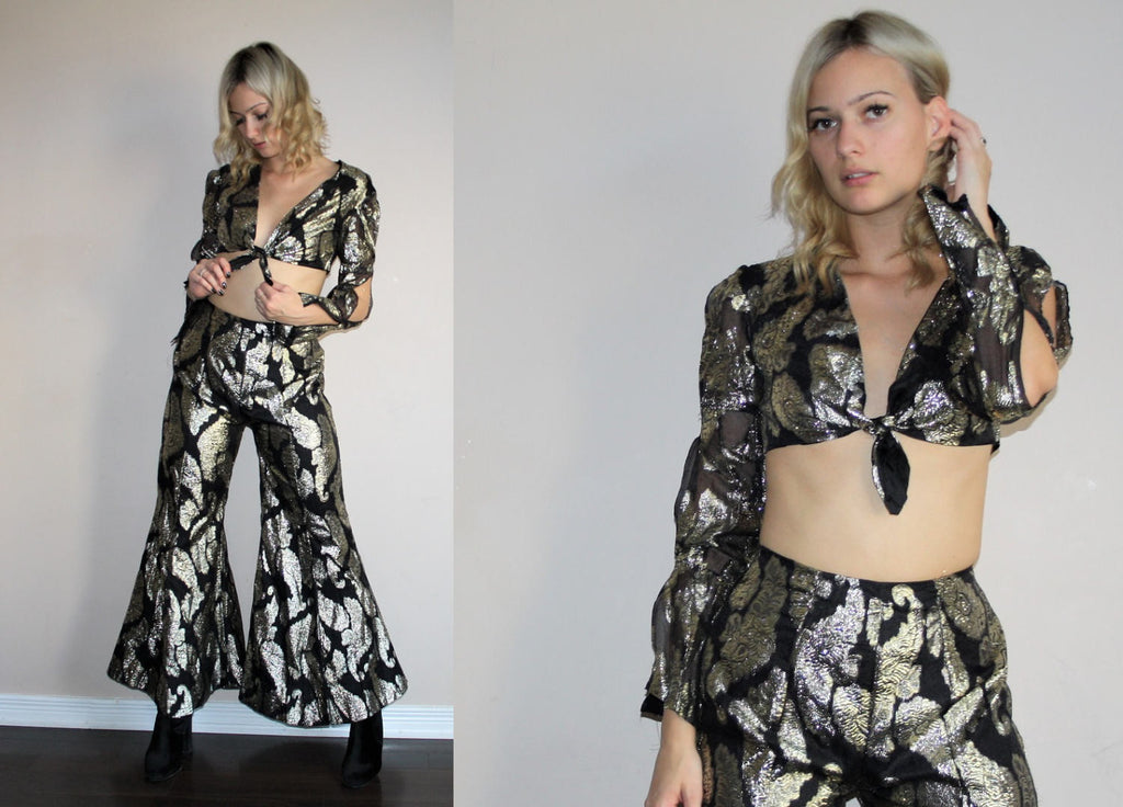 Rare Vintage 1960s Metallic Gold Floral Disco Crop Top and Bell Bottom Festival Set