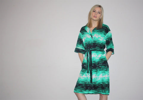 Vintage 1960s Green Graphic Ombre Abstract Camo Pattern Dress Dress