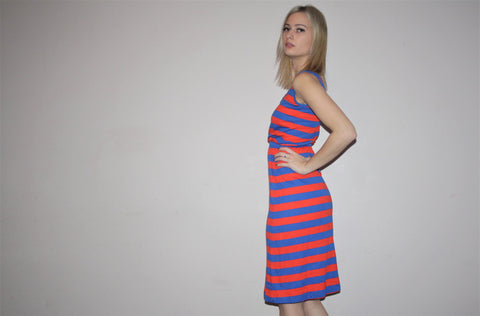 Vintage 1980s Red and Blue Nautical Stripe Cotton Jersey V Neck Dress