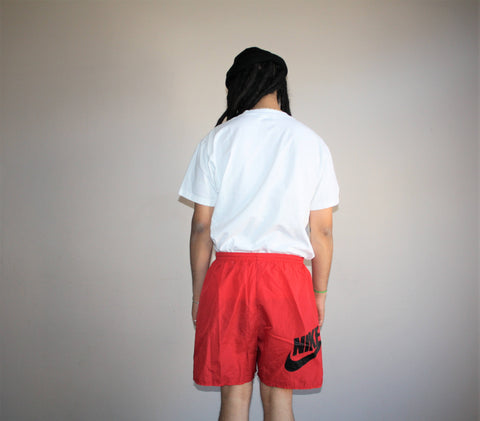 1990s Vintage Nike Swoosh Red Minimalist Swim Trunk Shorts