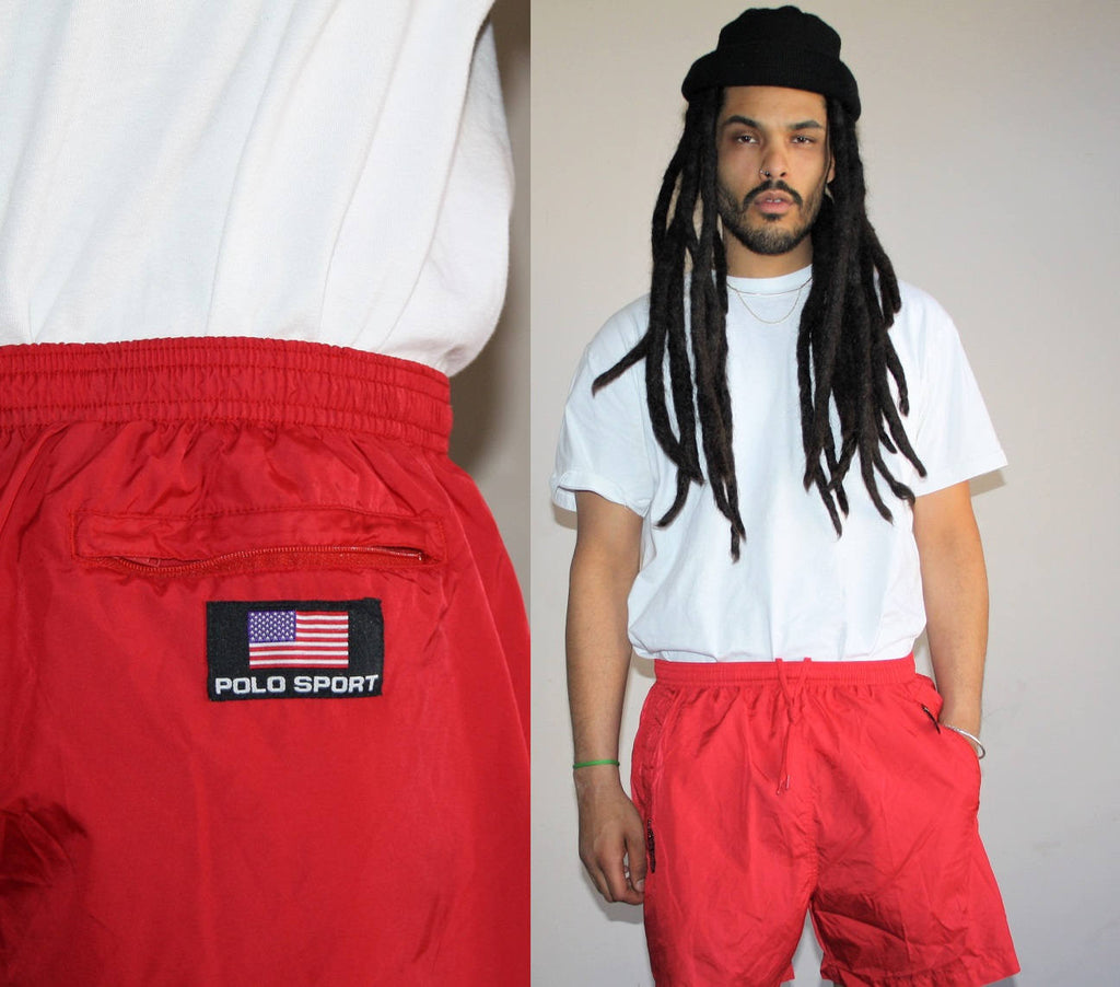 1990s Vintage Ralph Lauren Polo Red Swim Trunk Shorts