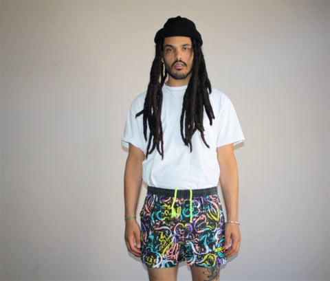 1990s Vintage Graphic Vaurnet France Neon Tribal Hip Hop Swim Trunks Men's Shorts