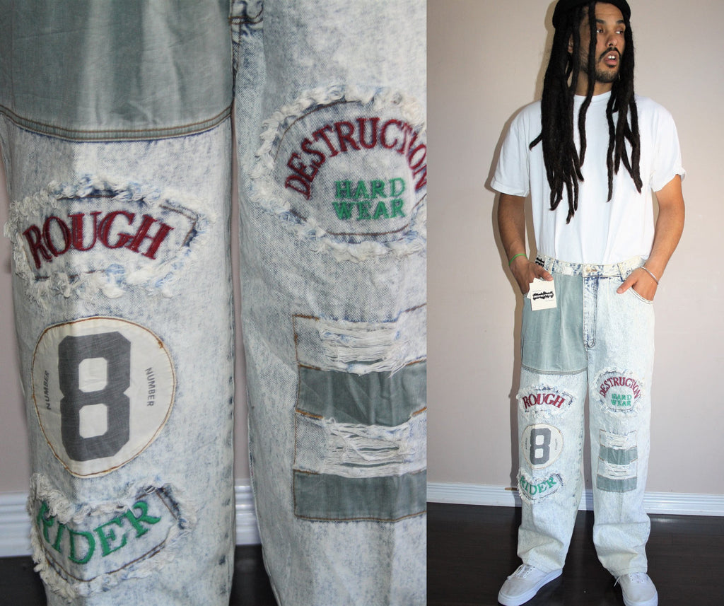 vetements 1990s Deadstock Bugle Boy Rough Rider Patch Distressed Acid Chemical Light Wash Denim Jeans