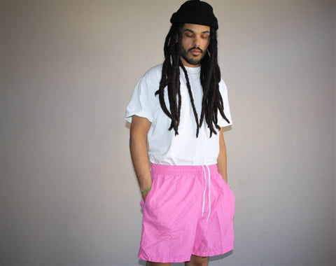 1990s Vintage Neon Pink Ralph Lauren Polo Sport Swim Trunks Men's Shorts