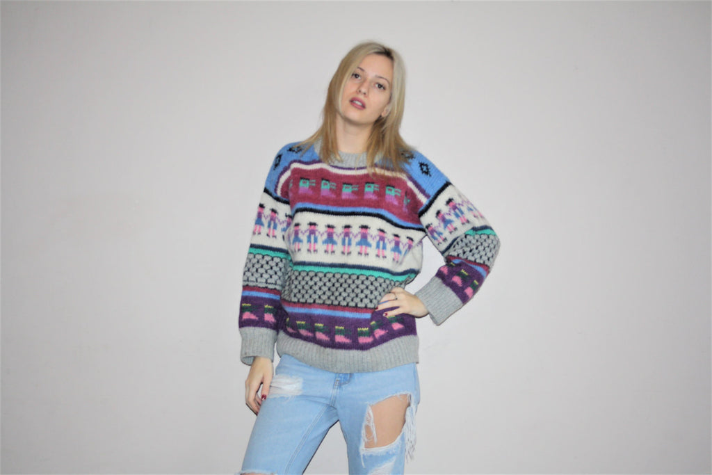 80s Vintage Rainbow Graphic New Wave Fresh Prince Knit Sweater