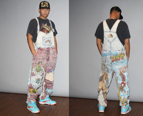 RARE 1990s Airbrushed Hip Hop Rap Rapper Urban Graffiti Men's Light Acid Wash Jean Overalls
