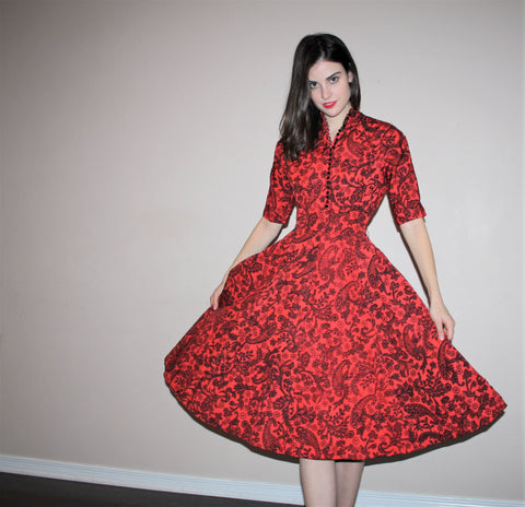 1950s Vintage Red Graphic Paisley Pinup Bombshell Party Dress
