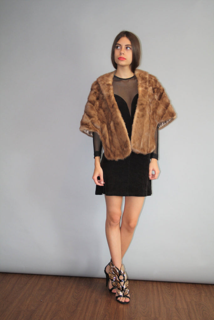 1950s Vintage Golden Brown Mink Stole Cape Coat