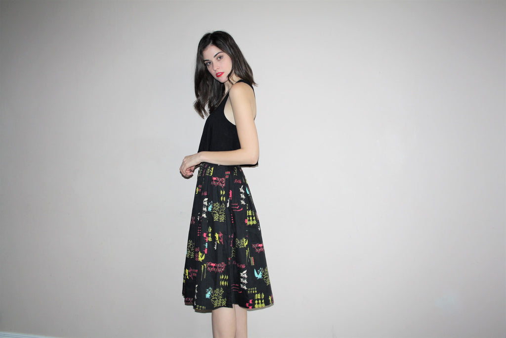 1950s Black Novelty Foxes Cotton Circle Skirt