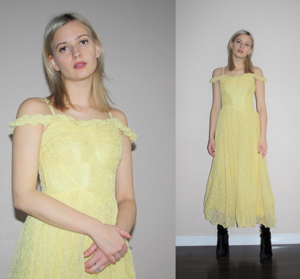 Vintage 1930s Rare Embroidered Mesh Overlay Off The Shoulder Lemon Yellow 30s Dress