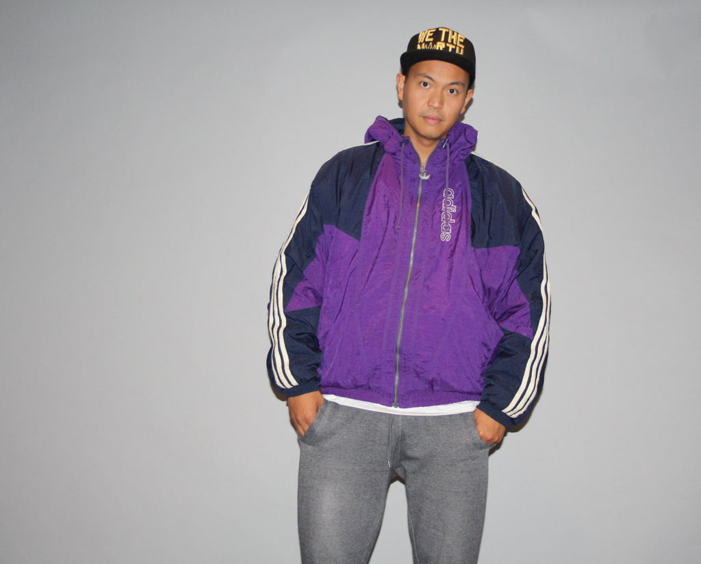 Vintage 1990s XL Adidas Trefoil Colorblock Parka Oversized Rap Rapper Bomber Winter Jacket