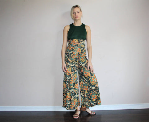 Vintage 1960s Green Floral Palazzo Mod Boho Bell Bottom Jumpsuit