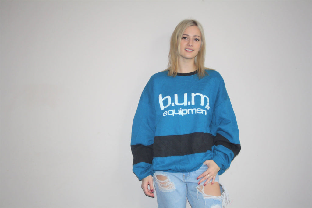 1990s Vintage BUM Athletics Equipment Colorblock Graphic Abstract Hip Hop Sweatshirt