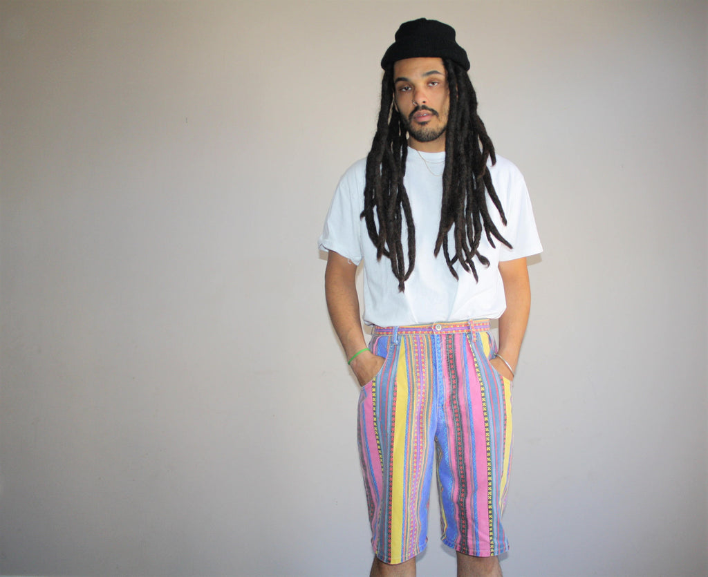 90s Neon Tribal Rainbow Fresh Prince Retro Hip Hop Long Shorts