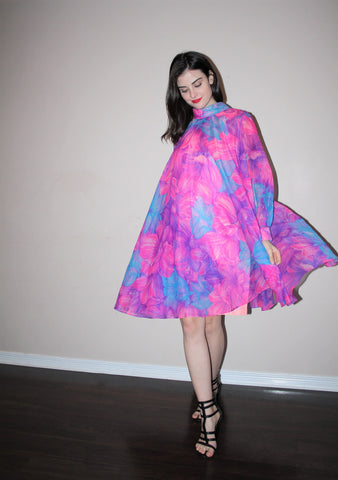 1960s Graphic Fuchsia Floral 60s Tent Mod Psychedelic Dress
