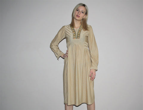 Vintage 1970s Gold Metallic Beaded Embroidered Boho Hippie Festival Dress